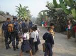 Nepal police inside Bhutanese Refugee camp