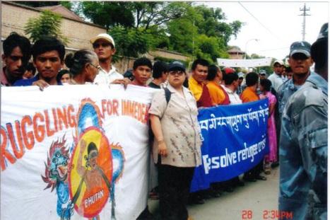 Bhutanese refugees protesting in Kathmandu Nepal 0n 2. June 2006,(photo:bpp.org)