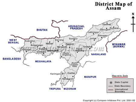Map of Assam State of India