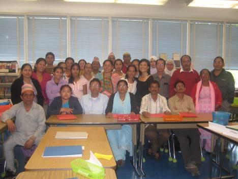 The Bhutanese refugees attending their class