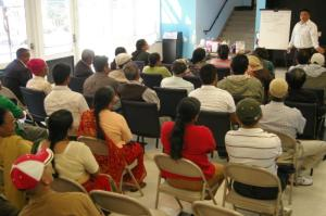 Mr. Rajen Giri speaking at the mass